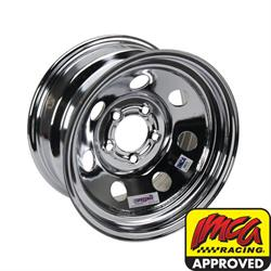 Speedway IMCA Approved 15 Inch Chrome Wheel, 15x8, 5 on 4-3/4, No Beadlock