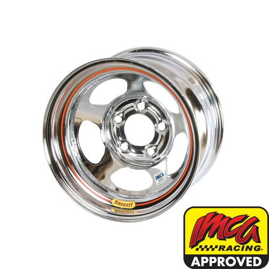 Bassett 58A54IC 15X8 Inertia 5 on 5 4 Inch Backspace IMCA Chrome Wheel