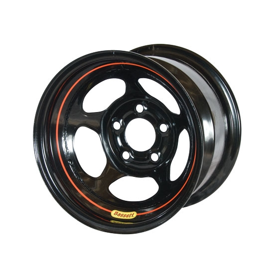Bassett 58A54 15X8 Inertia 5 on 5 4 Inch Backspace Black Wheel
