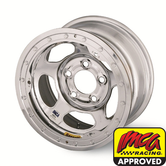 Bassett 58AC3ICL 15X8 Inertia 5on4.75 3 BS IMCA Chrome Beadlock Wheel