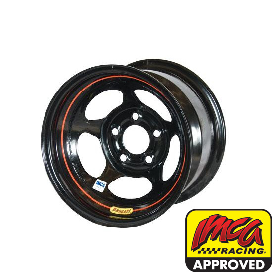 Bassett 58AF1I 15X8 Inertia 5 on 4.5 1 Inch Backspace IMCA Black Wheel