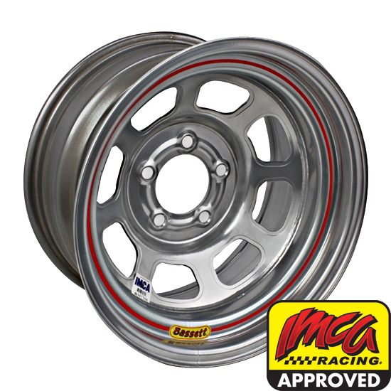 Bassett 58DF1IS 15X8 D-Hole 5 on 4.5 1 In Backspace IMCA Silver Wheel