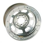 Bassett 58DF1WSL 15X8 DHole 5on4.5 1 BS Wissota Silver Beadlock Wheel