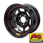 Bassett 58DF4I 15X8 D-Hole 5 on 4.5 4 Inch Backspace IMCA Black Wheel
