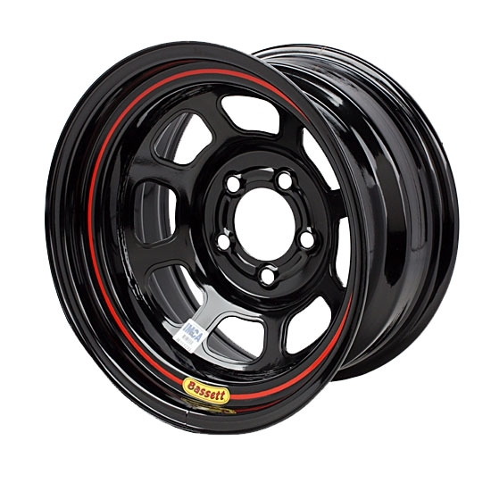 Bassett D58DF45 15X8 Dot D-Hole 5 on 4.5 4.5 In Backspace Black Wheel