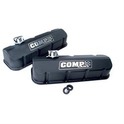 COMP Cams 281 Black-Wrinkle Powdercoated Tall Valve Covers, BBC, Pair