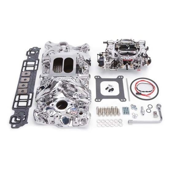 Edelbrock 20234 RPM Single-Quad Intake Manifold/Carburetor Kit, Chevy