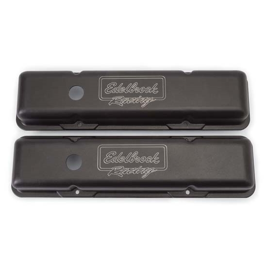 Edelbrock 41713 Victor Series Valve Cover Set, Small Block Chevy