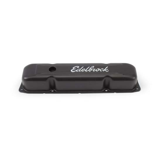 Edelbrock 4493 Signature Series Black Valve Cover Set, BB Mopar
