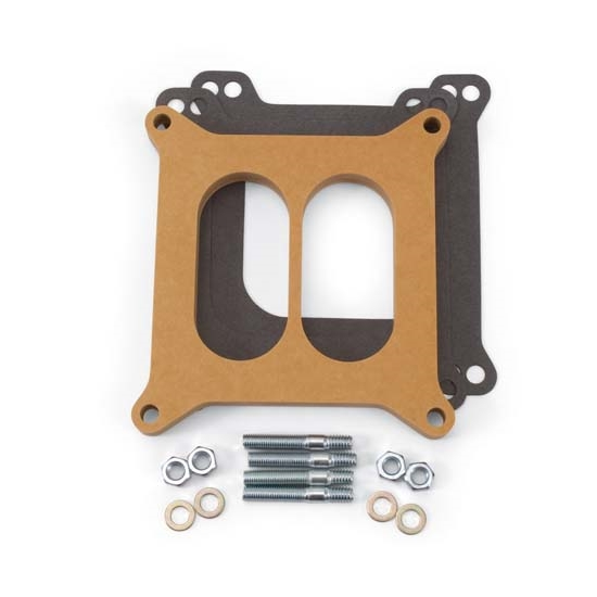 Edelbrock 8725 4- Barrel Carburetor Spacer, Wood, 0.500 Inch
