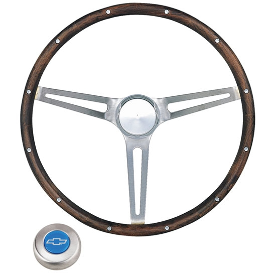 Grant 967 15 Inch Classic Nostalgia Wood Steering Wheel w/ Chevy Horn