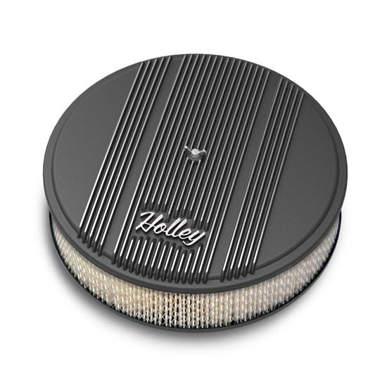 Round Air Filter Paper : Holley round black finned air cleaner paper