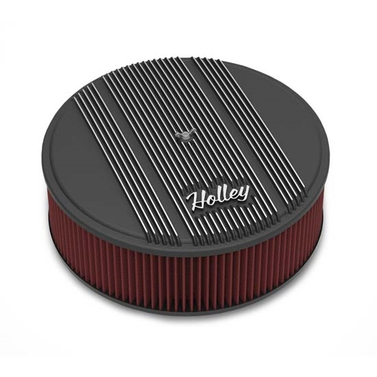 Holley Air Cleaner : Holley round black finned air cleaner reusable