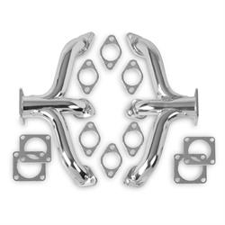 Flowtech 12702-2FLT Block Hugger Header, Flathead Ford, Chrome Finish