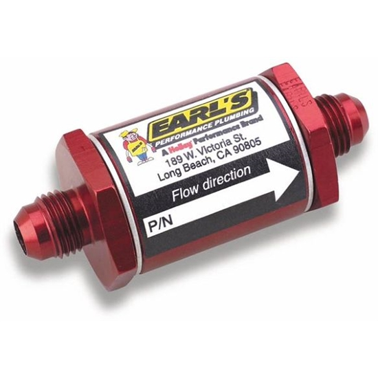 Earls 230210ERL In-Line Fuel Filter, -10 AN, Red Anodized