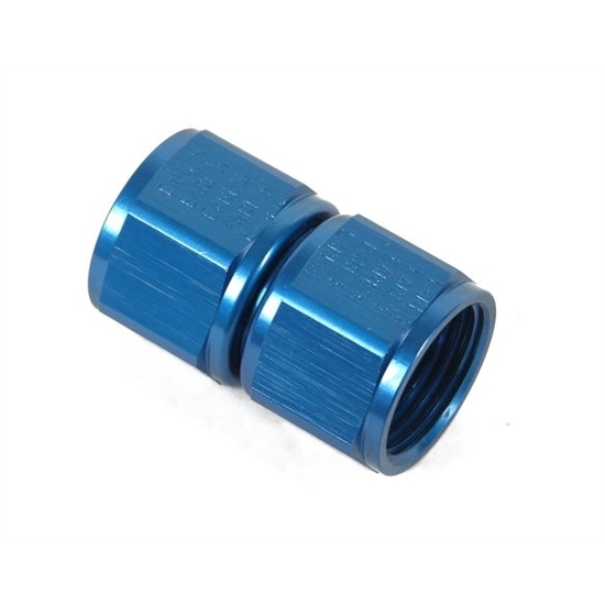 Earls 915106ERL Blue Anodized Straight -6 AN Female Swivel Coupling