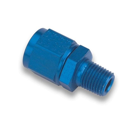 Earls 916108ERL Blue Straight -8 AN Swivel to 3/8 In Male NPT Adapter