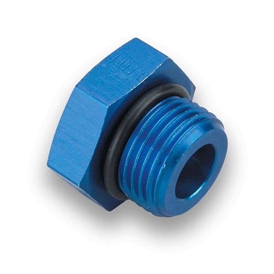 Earls 981408ERL Blue Anodized -8 AN Port Plug,  O-Ring Seal, Aluminum