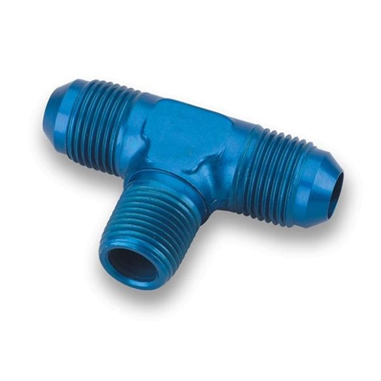 Earls 982506ERL Blue -6 AN Male Tee to 1/4 Inch NPT on Branch