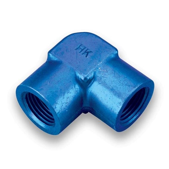 Earls 991603ERL Blue Anodized 3/8 Inch NPT Female 90 Degree Elbow