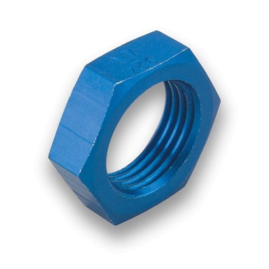 Earls 992408ERL Blue Anodized -8 AN Bulkhead Nut Lightweight Aluminum