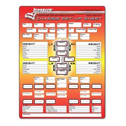 Longacre 22528 Chassis Set-Up/Tire Chart, 1 Pad/50 Sheets