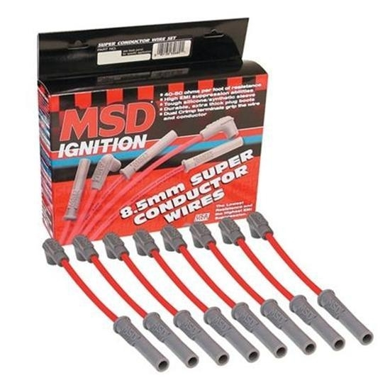 MSD 32819 8.5mm Spark Plug Wires Set, LS1, Super Conductor, Red