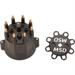 MSD 84333 Black Distributor Cap for Chevy V8, HEI, Retainer