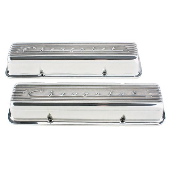 Finned 1960-86 Small Block Chevrolet Valve Covers, Polished
