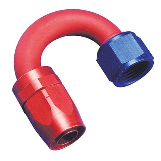 Aeroquip FBM4062 Hose End Coupler Fitting, 180 Degree, Blue/Red, -6 AN