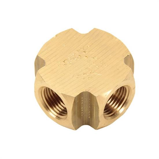 Air Suspension Brass Female Cross Fitting, 3/8 Inch NPT