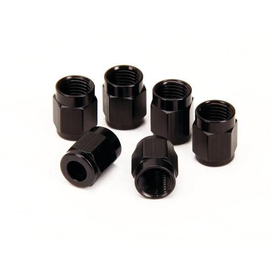 Aluminum Tube Nut Couplers, -4 AN, 1/4 Inch, Black, Pack of 6