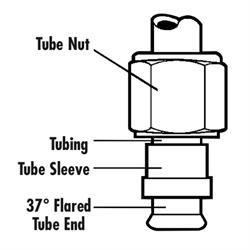 Aluminum Black Tube Nut Sleeve, -6 AN, 3/8 Inch, 2/Pack