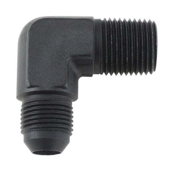 Black 90 Degree -6 AN Flare to 1/4 Inch NPT Pipe Adapter Fitting