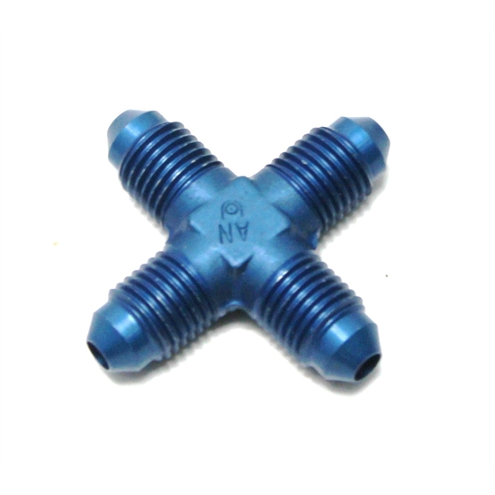 Garage Sale - Aluminum Flare Cross Adapter Fitting, Blue, -4 AN