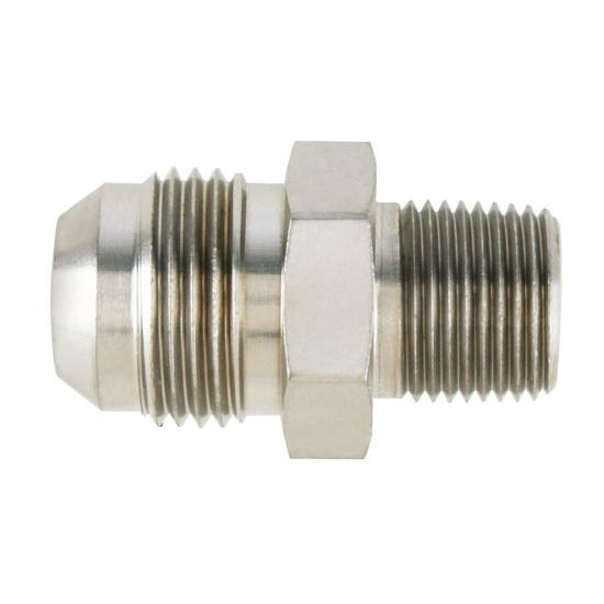 Nickel straight flare to pipe adapter fitting an