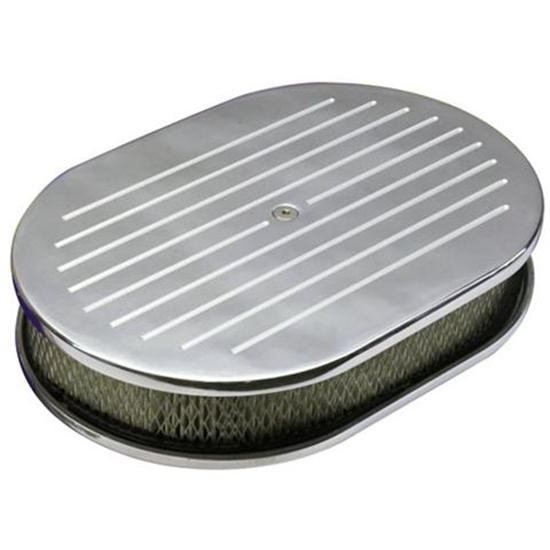 Ball Milled Billet-Style Oval Air Cleaner, 15 Inch