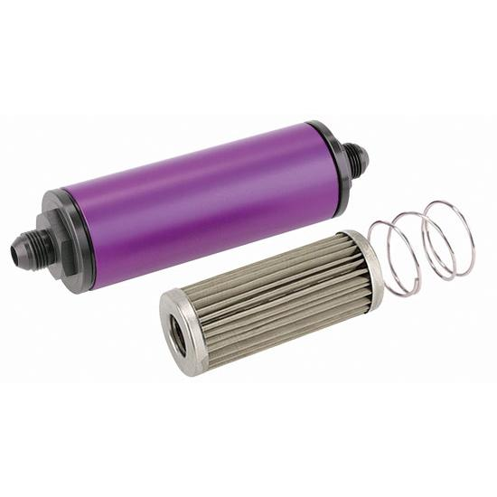 Purple 6 Inch Aluminum High Flow Fuel Filter, Stainless Element