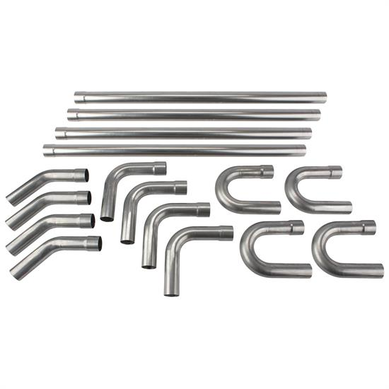 Universal Stainless Steel Dual Exhaust Mandrel Bend Kit, 2-1/2 Inch