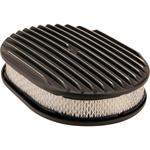 12 Inch Fully Finned Oval Air Cleaner Set w/ Paper Filter, Black