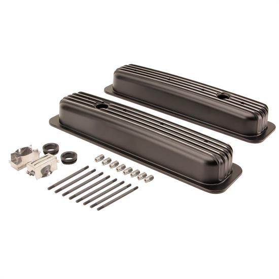 1987-1997 Small Block Chevy Short Finned Valve Covers, Black Aluminum
