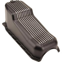 1986-2002 Small Block Chevy 305-350 Finned Oil Pan, Black Aluminum