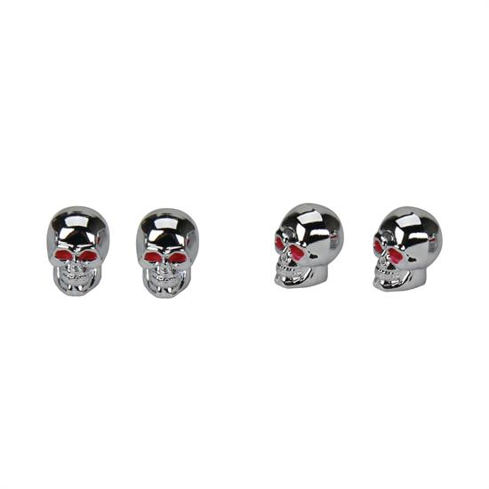 Skull Style Valve Stem Caps, Chrome