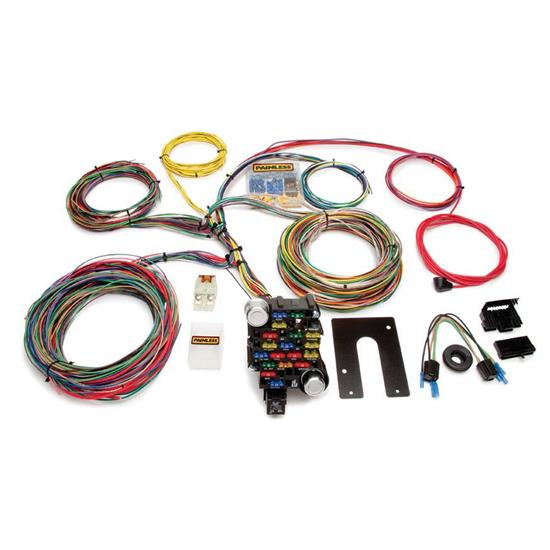 painless gm muscle car circuit wiring harness painless wiring 10202 universal 28 circuit 18 fuse chassis harness