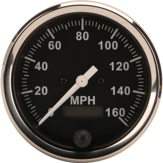 Speedway Speedometer Gauge  Black Face  3 8  Electric