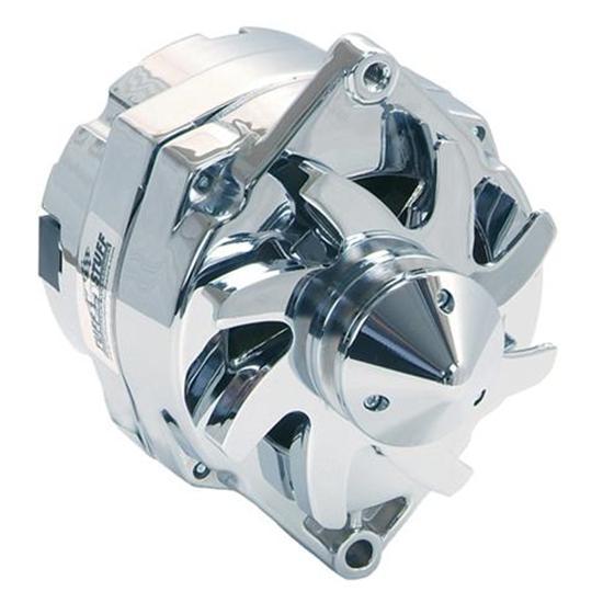 Tuff Stuff Chrome 100A 1-Wire Alternator GM V-Belt Pull Silver Bullet