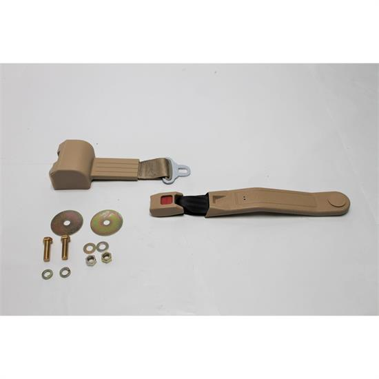 Garage Sale - Tan Beams Push Button Retractable Lap Seat Belt, DOT Approved