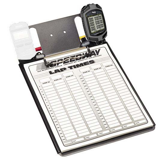 Clipboard with One Robic SC889 Stopwatch and Lap Sheets