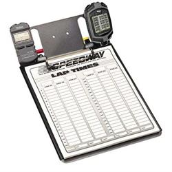 Clipboard with Robic SC505 and SC889 Stopwatches and Lap Sheets