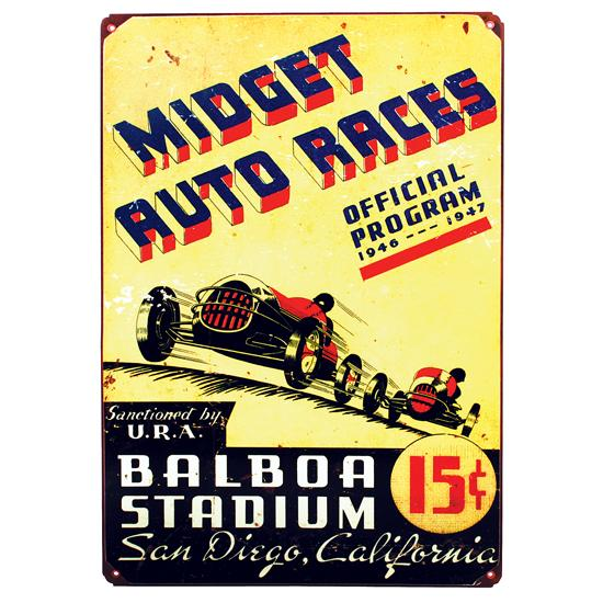 Midget Races Metal Sign